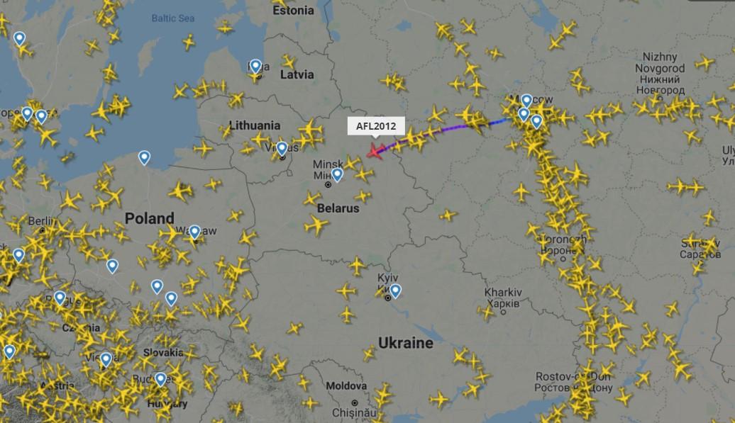 Карта полетов над Республикой Беларусь