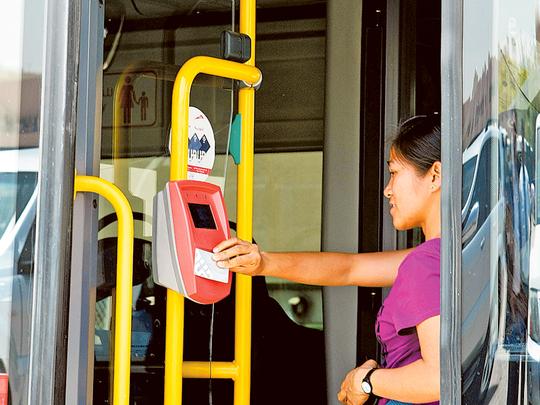 Оплата проезда картой Noll в автобусе