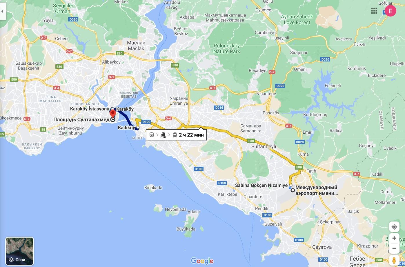 Из аэропорта в центр Стамбула на пароме.