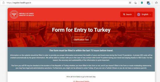 Сайт Минздрава Турции