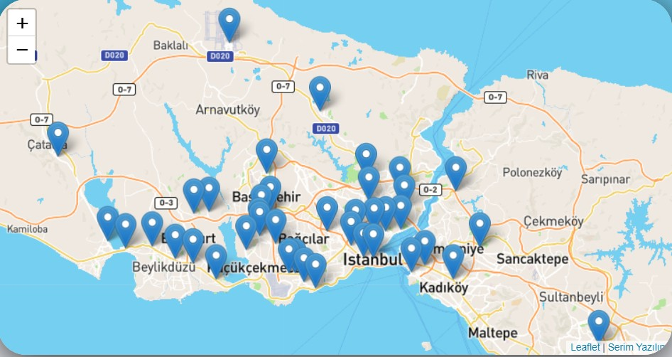 Карта с остановками Havabus в Стамбуле