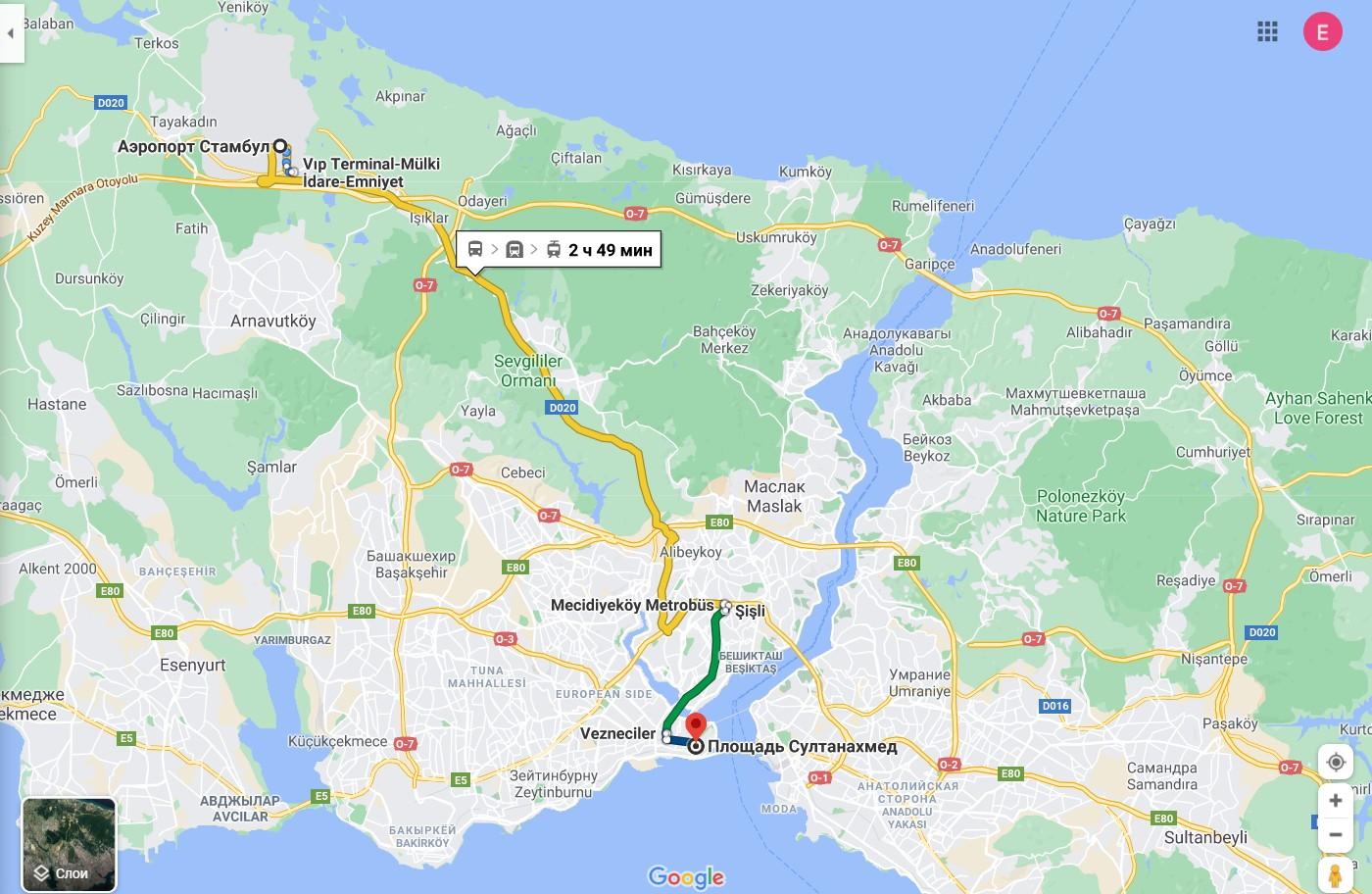 Из Нового аэропорта до площади Султанахмет на автобусе + метро