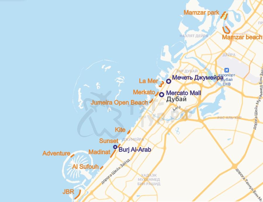 Пляжи Дубая на карте