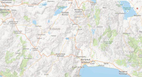Карта пожаров в Турции