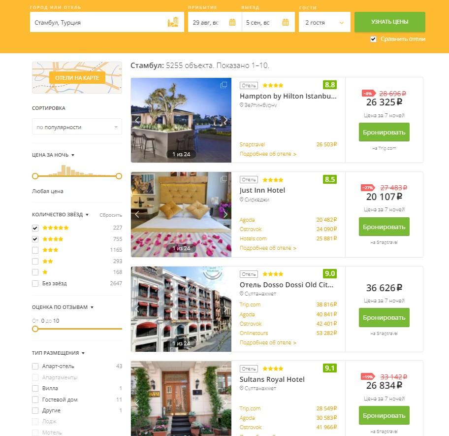 Список отелей в Стамбуле