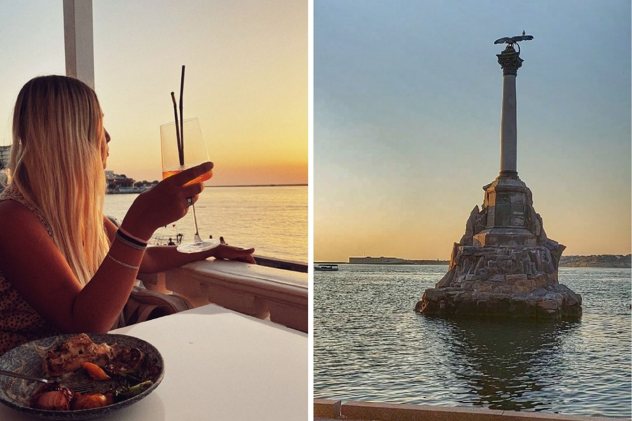 Памятник затопленным кораблям и ресторан