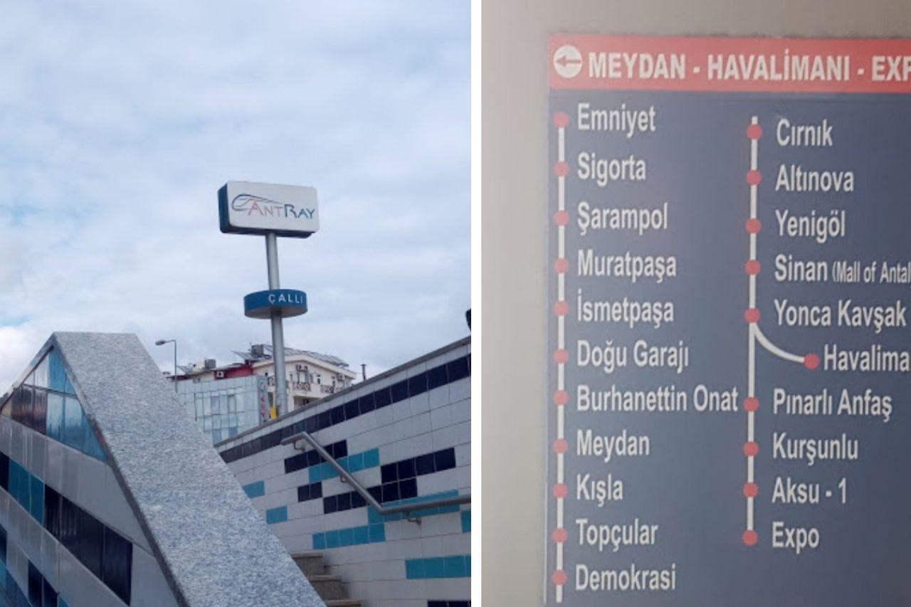 Вход на подземную станцию и маршрут трамвая