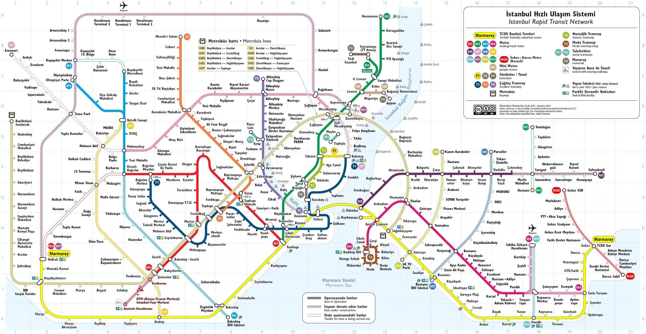 Карта общественного транспорта Стамбул
