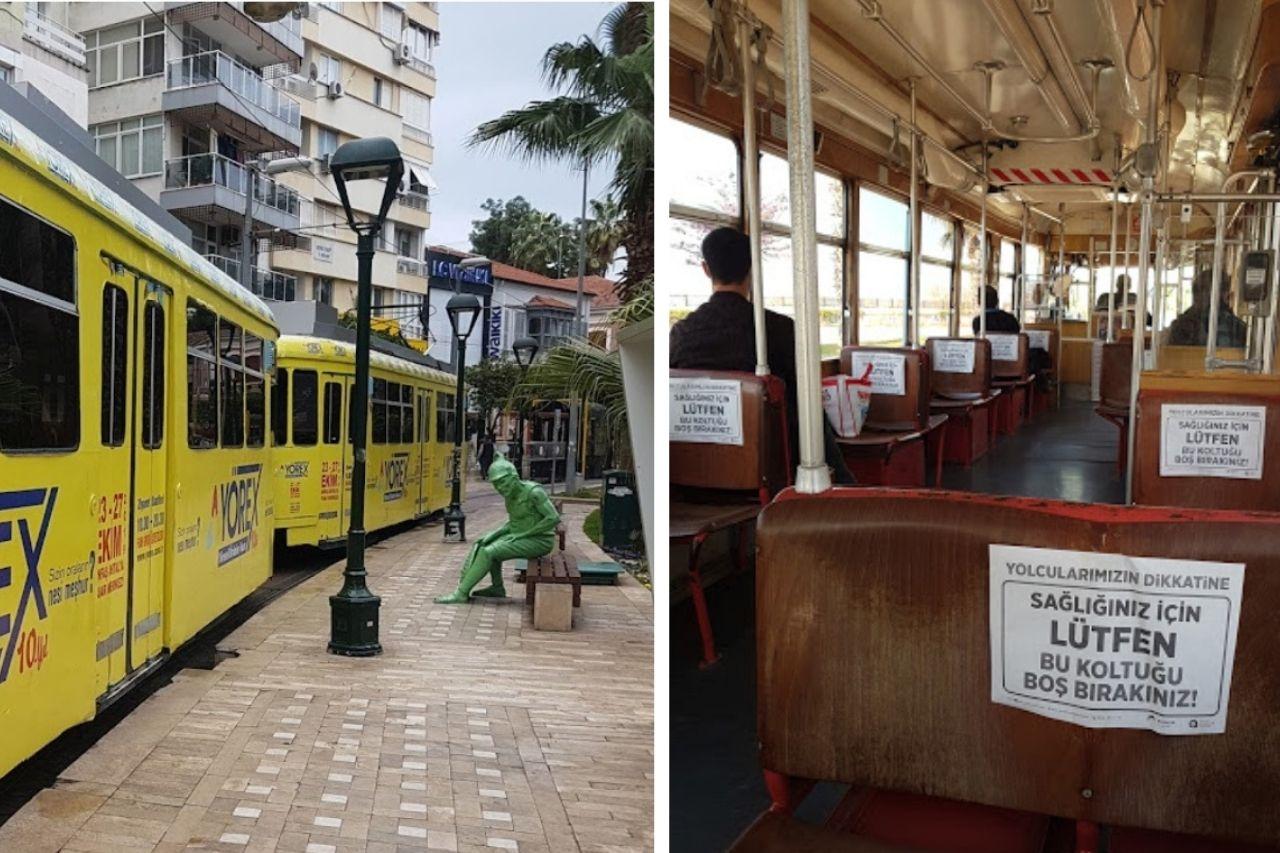 Ретро-трамвай Nostalji снаружи внутри