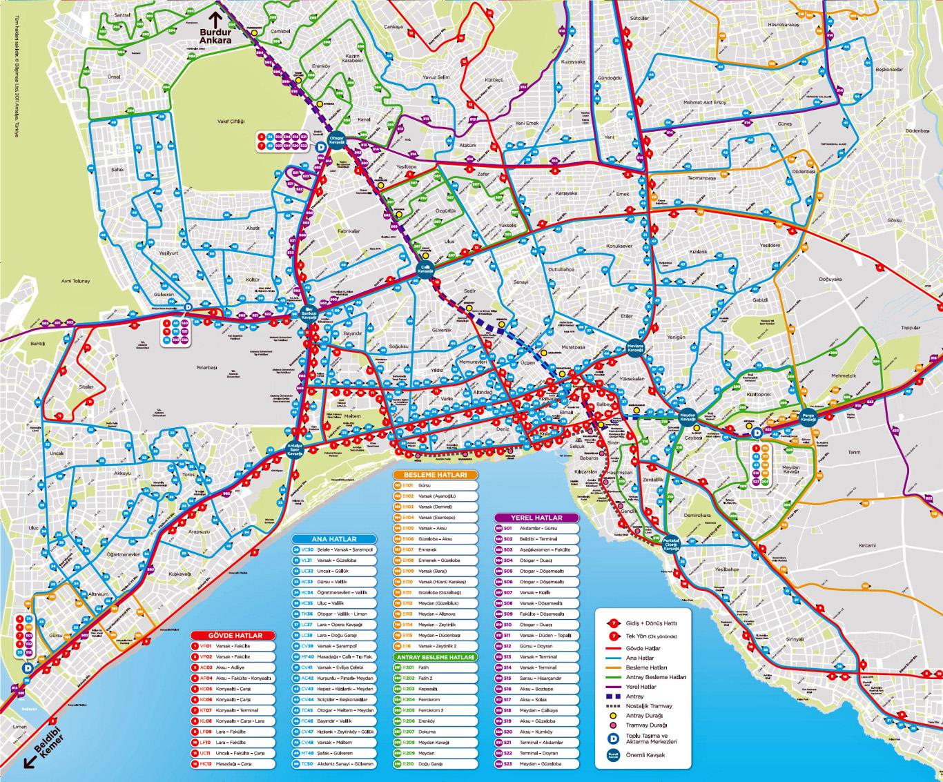 Схема общественного транспорта в Анталии